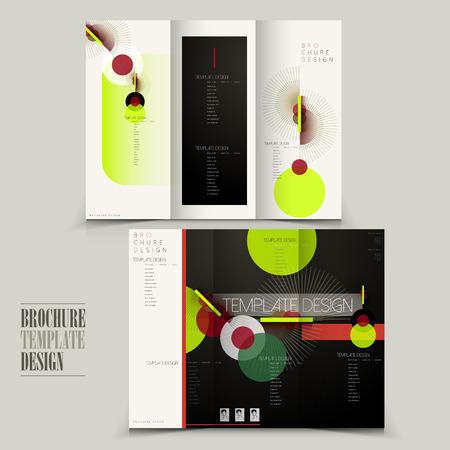 modern tri-fold brochure template design with geometric elements