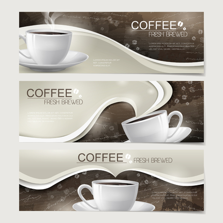 modern banners set template design with coffee elements  イラスト・ベクター素材