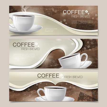 fresh brewed: modern banners set template design with coffee elements Illustration