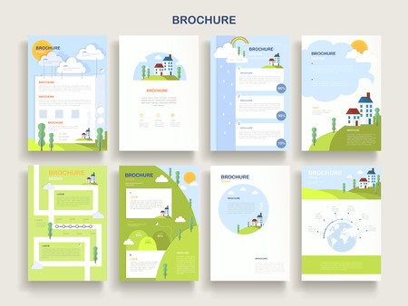 page layout: adorable brochure template design with nature scenery elements Illustration