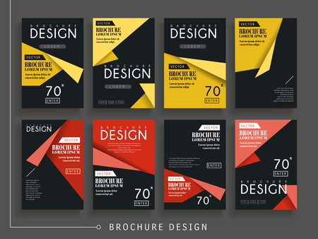 attractive brochure template design with origami elements