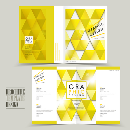 Modern Half Fold Brochure Template Design With Triangle Elements