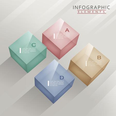 translucent: modern infographic template design with translucent cubes Illustration