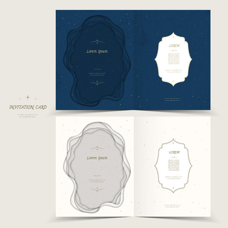 graceful: graceful invitation card template design in blue and white