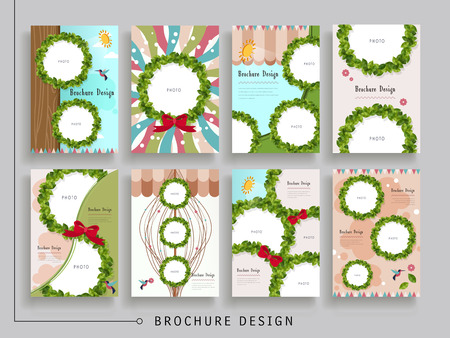 lovely brochure template design with wreath elements