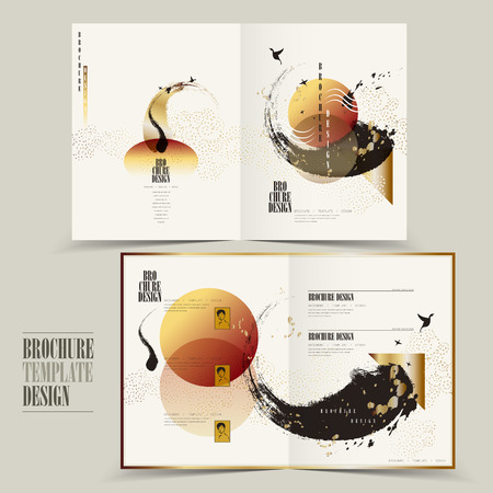 modern half-fold brochure template design with attractive brush stroke