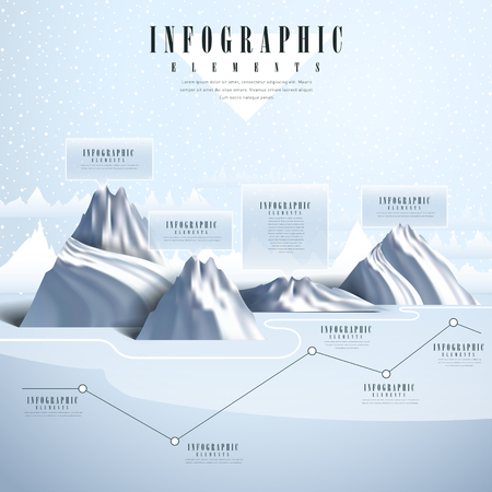 chilly: beautiful infographic template design with polar scenery
