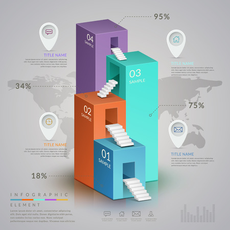 the simplicity: simplicity infographic template design with 3d isometric bar chart