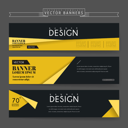 attractive banners set template design with origami elements Ilustração