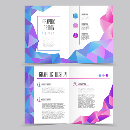 Beautiful Half Fold Brochure Template Design With Crystal Elements