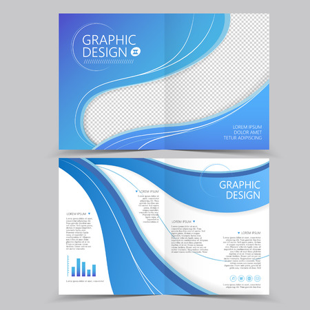 beautiful half-fold brochure template design with wave elements