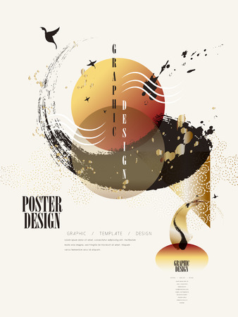 modern poster design with attractive brush stroke