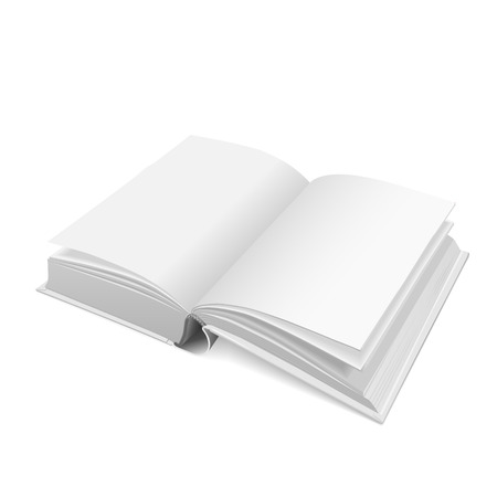 reference book: open blank book isolated on white background