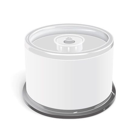 cd label: CD container with blank label isolated on white background Illustration