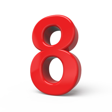 number 8: 3d glossy red number 8 isolated on white background