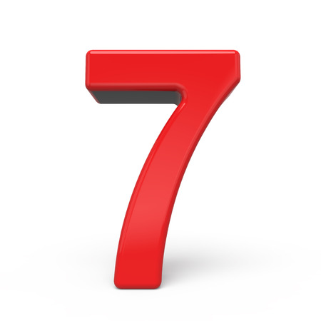 number 7: 3d glossy red number 7 isolated on white background Stock Photo