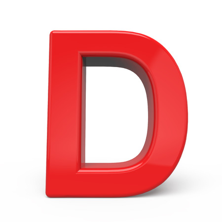 3d glossy red letter D isolated on white background
