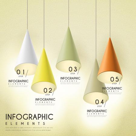hanging lamp: elegant infographic design with hanging lamp elements