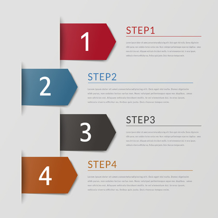 sencillez: simplicidad de diseño infográfico con elementos de la flecha de la etiqueta