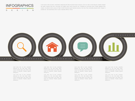 road design: creative infographic design with flat road elements Illustration
