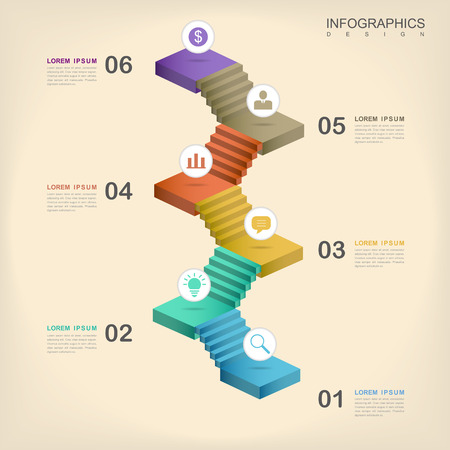 화려한 계단 요소와 현대적인 인포 그래픽 디자인 일러스트