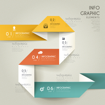 elegant infographic design with folding paper elements
