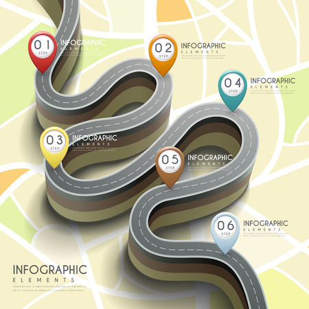 sign road: creative infographic with 3d bending road and markers