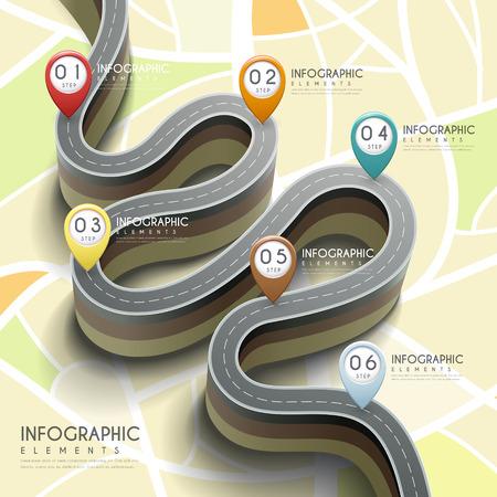 carretera: infografía 3D creativo con flexión de carreteras y marcadores Vectores