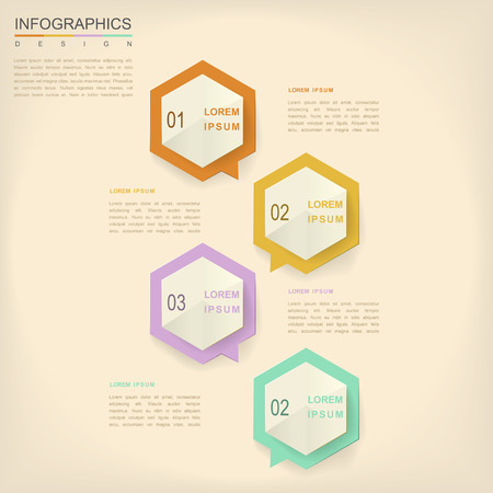 the simplicity: simplicity infographic design with hexagon speech bubble elements Illustration