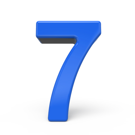 number 7: 3d glossy blue number 7 isolated on white background Stock Photo