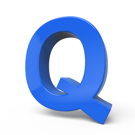 letter q: 3d glossy blue letter Q isolated on white background