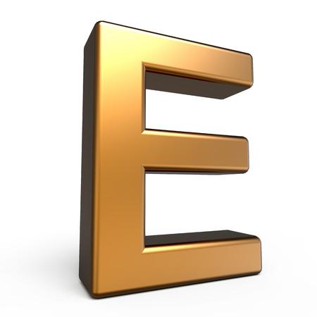 matte: 3d matte gold letter E isolated on white background