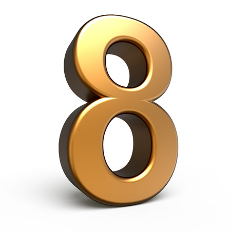 matte: 3d matte gold number 8 isolated on white background