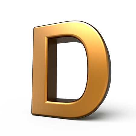 matte: 3d matte gold letter D isolated on white background Stock Photo