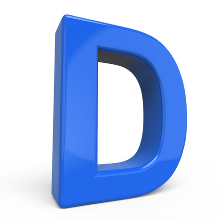 d: 3d glossy blue letter D isolated on white background