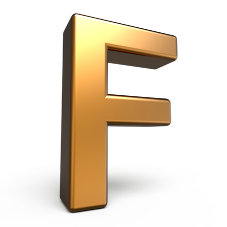 matte: 3d matte gold letter F isolated on white background
