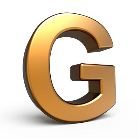 matte: 3d matte gold letter G isolated on white background