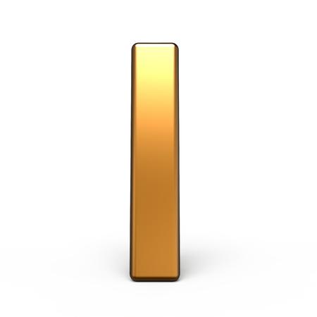 letter i: 3d matte gold letter I isolated on white background