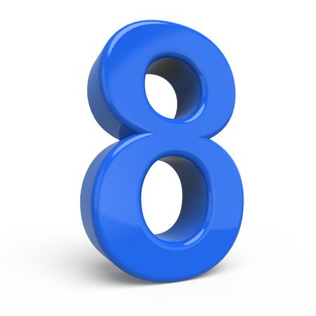 number 8: 3d glossy blue number 8 isolated on white background