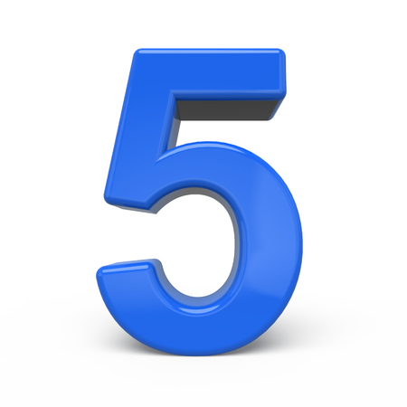 number 5: 3d glossy blue number 5 isolated on white background