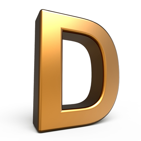 d: 3d matte gold letter D isolated on white background Stock Photo