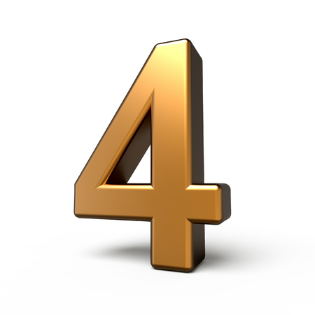 number 4: 3d matte gold number 4 isolated on white background Stock Photo