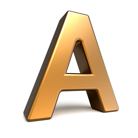 matte: 3d matte gold letter A isolated on white background