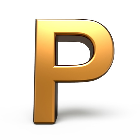 matte: 3d matte gold letter P isolated on white background
