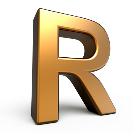 matte: 3d matte gold letter R isolated on white background