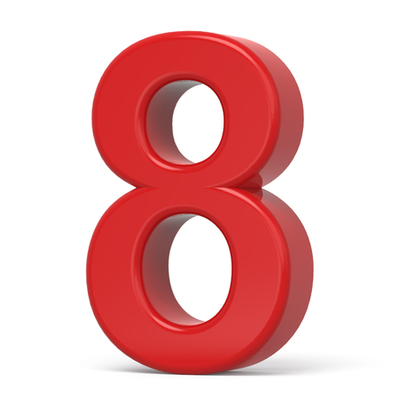 number 8: 3d plastic red number 8 isolated on white background