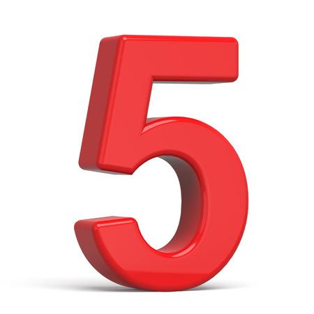 3d plastic rood nummer 5 dat op witte achtergrond wordt geïsoleerd
