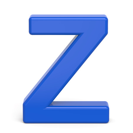 3d plastic blue letter Z isolated on white background