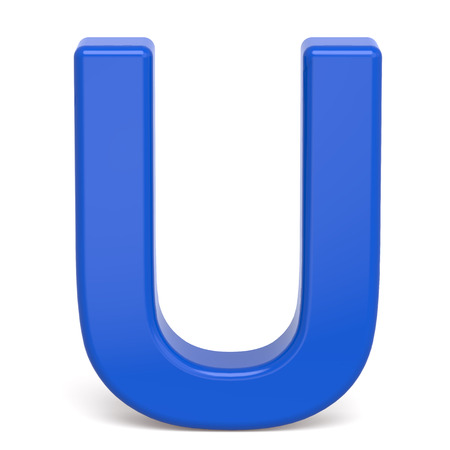 3d plastic blue letter U isolated on white background Stock Photo