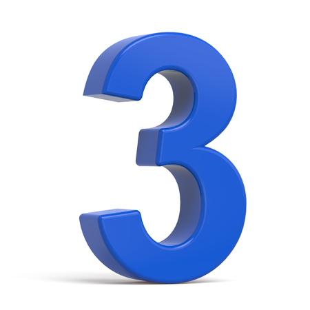 number 3: 3d plastic blue number 3 isolated on white background Stock Photo